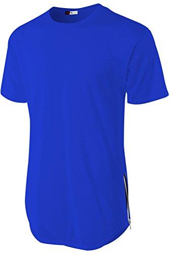 Royal Hip Hop (DR Men's Hipster Long line Plain Hip Hop Soft Casual T-Shirts W/ Zipper Trim (Medium, Royal Blue))