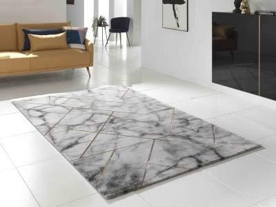 KOTON Marble Tapis de Salon, Style marbre et Joints (Blanc, Gris, Laiton,  120 x 170 cm)