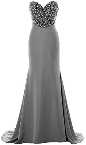 Formal MACloth Dress Strapless Prom Party Grau Women Long Crystals Evening Gown 7xYqrw71