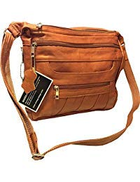 Leather Concealed Carry Crossbody Purse - YKK Locking CCW Ambidextrous Gun Bag Roma 7082, Light -