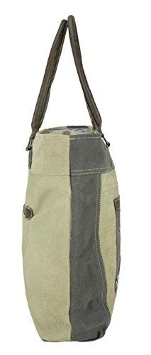 Damen Shopper Vintage Tasche aus Canvas 1803 43x36x11 cm