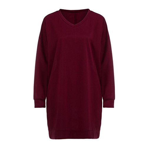 - Forthery Womens Long Sleeve Casual Oversized Tunic Tops With Pockets (S, Wine)