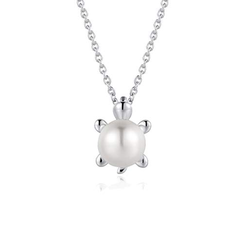 (FANCIME Sterling Silver Freshwater Pearl Necklace Animal Collection Cute Small Sea Turtle Pendant Necklace Fine Jewelry for Women Girls 16