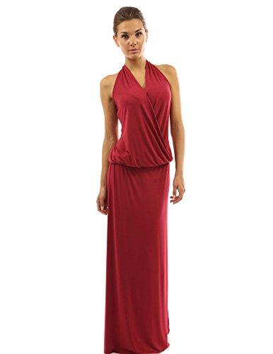 PattyBoutik Mujer vestido blusón maxi abrigo de imitación sin espalda color rojo oscuro