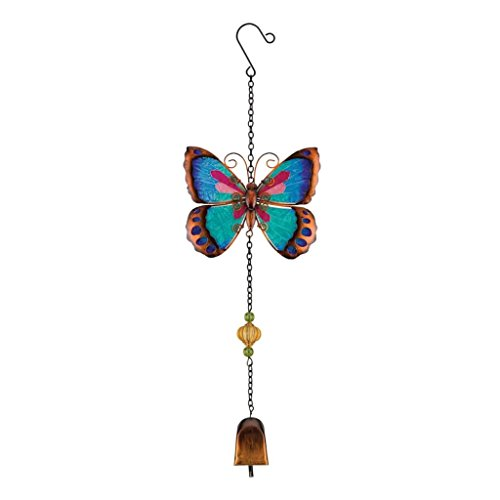 Regal Arts & Gift Garden Bell 6 Inches X 1.5 Inches X 19.5 Inches Metal/Glass/Acrylic Butterfly