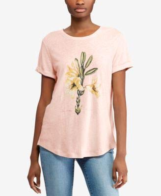 (LAUREN RALPH LAUREN Womens Linen Relaxed Graphic T-Shirt Pink L)