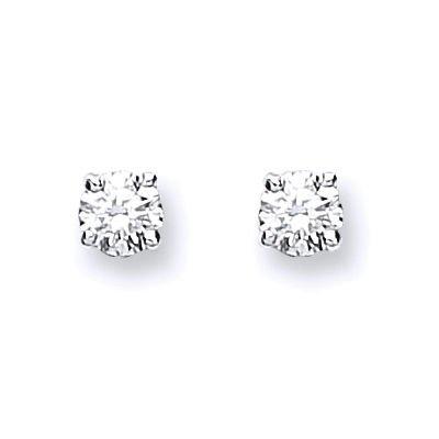 Jareeya-Solitaire Diamant Boucles d'oreille à tige, Or blanc 9ct, diamants 0.25CT