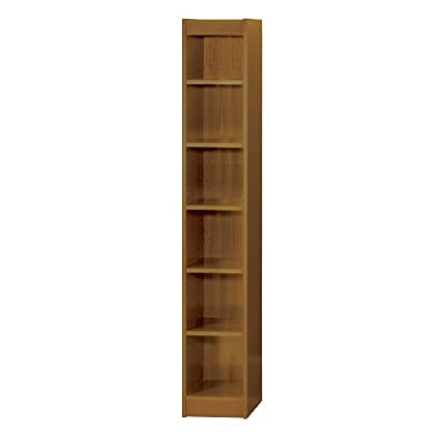 "Safco Products Baby Bookcase, 6 Shelf, 12"" Wide, Medium Oak - Baby bookcase shelving unit 12""W x 12""D x 72""H Six full 11 3/4""D shelves adjust in 1 1/4"" increments, hold up to 100 lbs. evenly distributed, 1/8"" back panel Constructed of furniture grade compressed wood with wood veneer finish, shelf-lock fasteners for easy assembly - living-room-furniture, living-room, bookcases-bookshelves - 31RVYlt5txL. SS400  -"