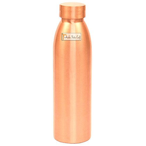 Prisha India Craft Seam Less Pure Copper Water Bottle New Style Storage Water, Travel Essential, Yoga, Copper Bottles | Capacity 1000 ML ()