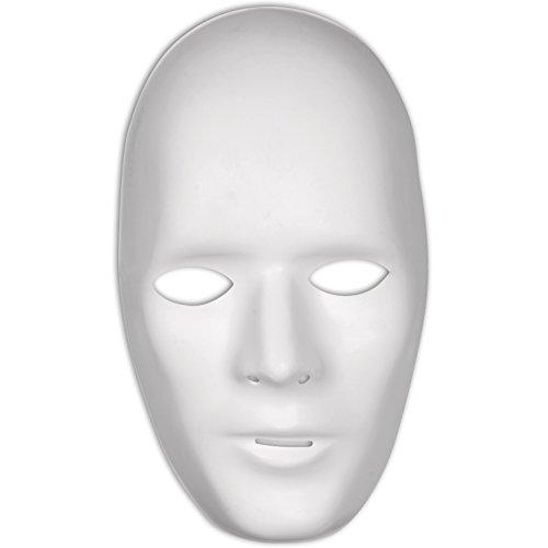 [Loftus Men Male Plain Anonymous Matte PVC Face Mask, White, One-Size] (Anonymous Man Costume)