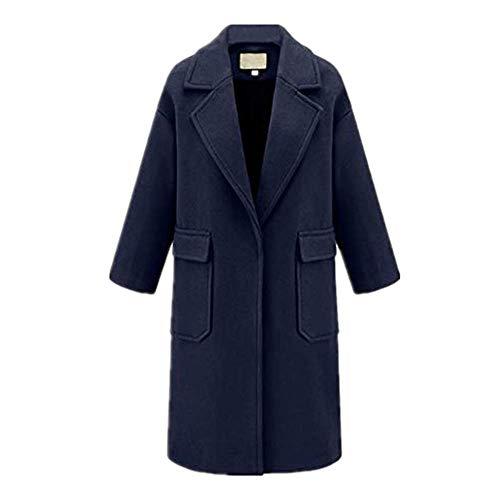 Hengshikeji Womens Plus Size Winter Lapel Wool Coat Trench Jacket Big Pocket Overcoat Outwear Women Teen Girls Navy