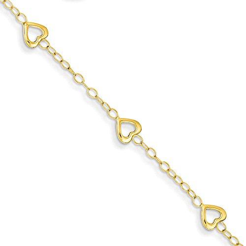 14K Yellow Gold Heart Adjustable Child's Bracelet by Jewelry Pilot
