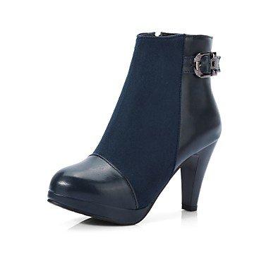 RTRY Zapatos De Mujer Acudiendo Pu Otoño Invierno Confort Botas De Tacón Chunky Toe Hebilla Redonda Cremallera Para Oficina Exterior &Amp; Carrera De Luz Azul Real US7.5 / EU38 / UK5.5 / CN38