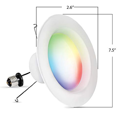 Feit Electric LEDR6/RGBW/AG 75 Watt Equivalent 12.3W WiFi Color Changing and Tunable White, Dimmable, No Hub Required, Alexa or Google Assistant RGBW Multicolor LED Smart Downlight, 75W, Recessed Kit