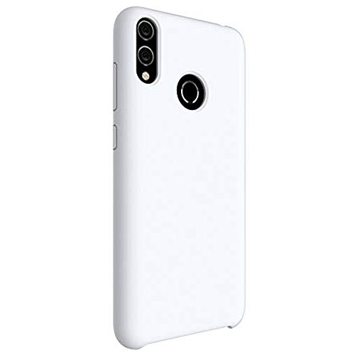 Matop Liquid Silicone Case Compatible for P Smart Plus 2019,[Microfiber Cloth Cushion Lining][Free Tempered Film] Slim Soft Full Body Shockproof Protection Shell for P Smart Plus 2019,White