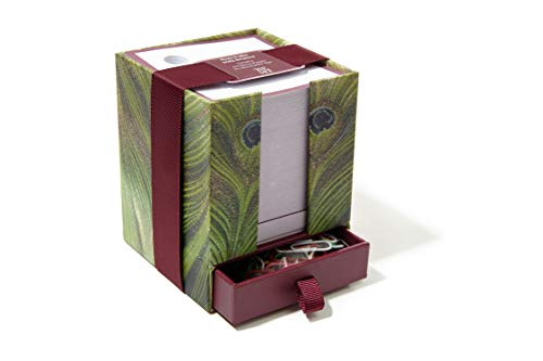 The Metropolitan Museum of Art Sticky Notes Cube 4''H x 3 1/4''W with 500 Loose Sheets and 50 Color Paper Clips (Peacock) by M&G COLLECTION