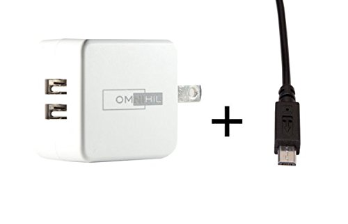OMNIHIL Replacement 2-Port USB Charger+(15FT)MICRO-USB forGISSARAL 35000mAh capability Bank GIS09B-AP3