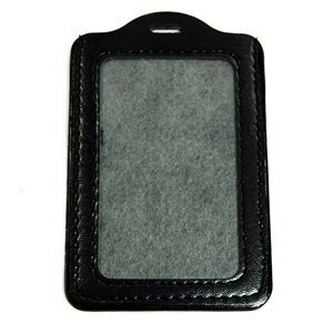 Cosmos Black 5 Pcs Faux Leather Business ID Badge Card Holder - Vertical (Top Loading) with Slot & Chain Holes with Cosmos Fastening Strap