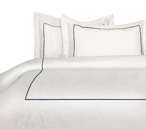 - Melange Home Percale Cotton Single Stripe Embroidery Duvet Set King, Navy on White