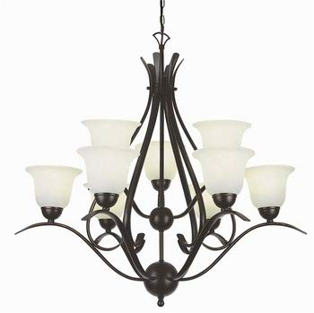 Trans Globe 9289 ROB Nine Light 2 Tier Chandelier, Rubbed Oil Bronze Finish with Marbleized Glass