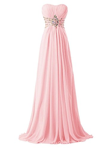 Women's Strapless Evening Dress Long Beaded Annie's Pink Bridal Chiffon Dresses Bridesmaid 7ZExn5