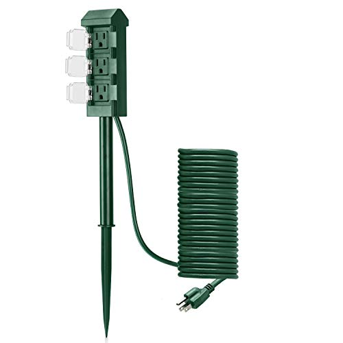 BESTTEN Outdoor Power Strip with 20-Foot Ultra Long Extension Cord, 3-Outlet Weatherproof Yard Power Stake with Protective Covers, ETL Certified, Green (Power Stake Outdoor)