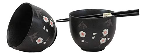 - Ebros Ceramic Japanese White Anemone Flowers Black Ramen Udong Noodles Bowl and Chopsticks Set of 2 for Asian Dining Soup Rice Pasta Salad Collection of Bowls Decor Home Kitchen