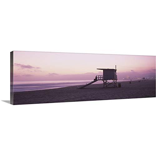 "GREATBIGCANVAS Gallery-Wrapped Canvas Entitled Lifeguard hut on Santa Monica Beach, Santa Monica Pier in Distance, Santa Monica, California by 48""x16"""