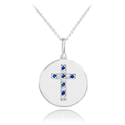 14k White Gold Cross Diamond and Sapphire Disc Pendant Necklace (20 Inches)