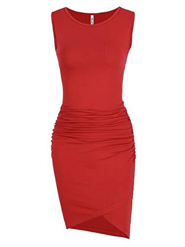 Women's Casual Ruched Bodycon Sundress Irregular Sheath T Shirt Dress (Sleeveless Red, Medium)