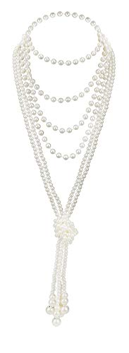 Art Deco Jewelry 1920s Pearl Necklace Long Necklace for Women Gatsby Flapper Accessories Vintage Party (A-Knot Pearl Necklace2 + 59