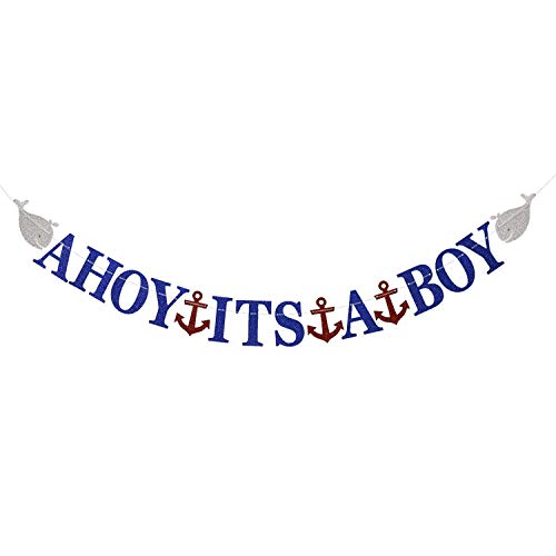 Feddiy Ahoy Its A Boy Nautical Theme Baby Shower Banner for Baby Boy Party Decorations ()