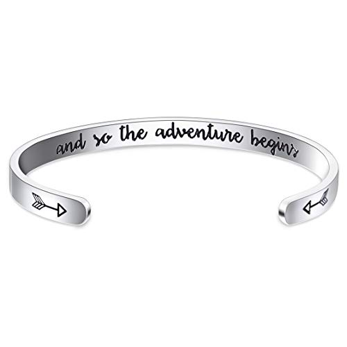 Jdesign Inspirational Bracelet Cuff Bangle Mantra Quote and so Adventure Begins Personalized Engraved Bangle Motivational Encouragement Bracelets for Women Girls Teen (Engraved Thin)