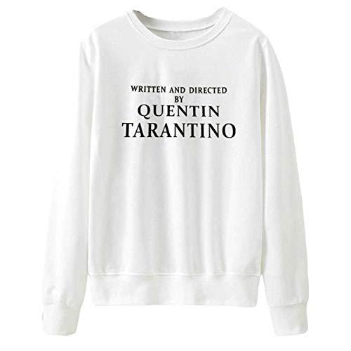 Maniche Stampa Girocollo White Quentin A Tarantino Allentata Felpa Lettera Casual Lunghe Obxguwn Con ZX01pwnx