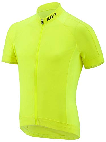 Louis Garneau Men's Lemmon 2 Lightweight, Short Sleeve, Full Zip Cycling Jersey, Bright Yellow, Large (Jersey Bicycle Medium Cycling)