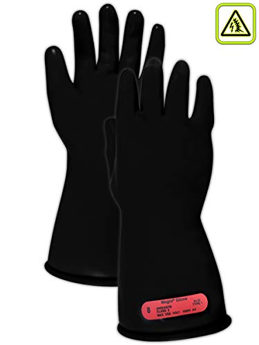 Magid Safety M011B10 Electrical Gloves | ASTM D120-09 Compliant Class 0 Rubber Electrical Insulating Gloves with Straight Cuff, Work, 11