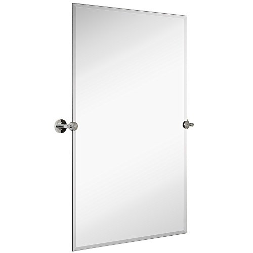 Hamilton Hills Large Pivot Rectangle Mirror with Polished Chrome Wall Anchors | - Tilt Bathroom Rectangle Mirrors