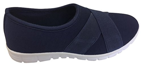 Cambridge Select Womens Stretch Elastic Crisscross Strap Slip-On Comfort Sneaker Navy be4455