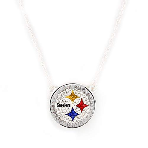 Drop of Silver NFL Football Pittsburgh Steelers Crystal Logo Necklace in Clear, Black, Yellow, Red Blue