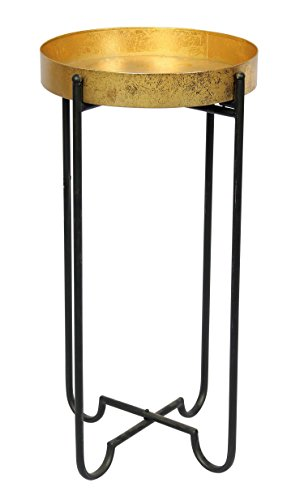 Sagebrook Home 12092 Folding Metal Tray Table, Gold/Black Metal, 14 x 14 x 26.75 Inches For Sale