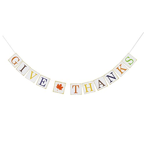 Give Thanks Paper Banner Hanging Garland - Thanksgiving Banner Sign - Thanksgiving Party Decoration - Fall Autumn Decor (Fall Fireplace Mantels)