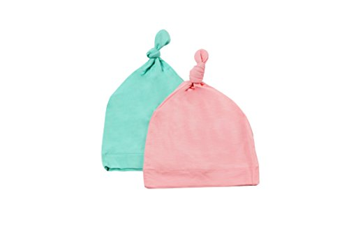 KYTE BABY Organic Bamboo Baby Beanie Hats - Super Soft Knotted Caps Available in Pattern and Solid Colors - 2 Pack (0-6 Months, Aqua/Petal)