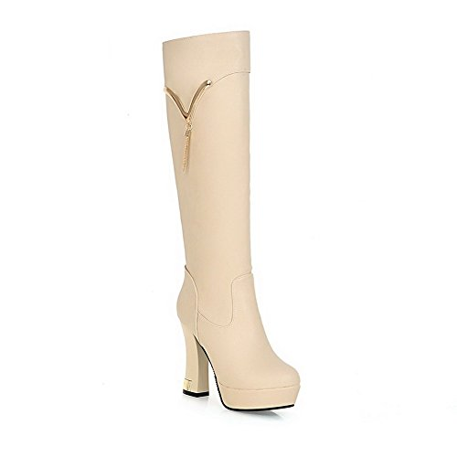 AgooLar Damen Hoher Absatz PU Rein Ziehen auf Stiefel, Aprikosen Farbe, 34