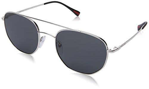 Prada Linea Rossa  Men's 0PS 56SS Silver/Grey - Prada Sunglasses Logo