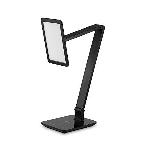 TaoTronics 10W LED Schreibtischlampe Tischleuchte mit Touchfeld, supergroßes LED-Feld und stufenlose Dimmung, USB-Anschluss für Aufladung des Smartphones, Schwarz