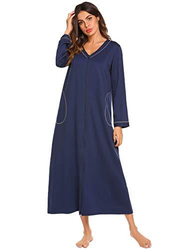 Ekouaer Night Shirt Womens Nightgown Robe Long Sleeve Nightshirt Full Length V Neck Sleep Loungewear Zipper,Navy ()