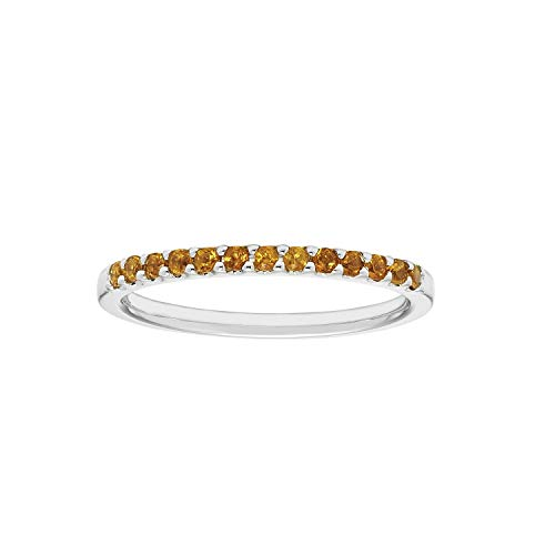 14K White Gold 1/5 Cttw Genuine Citrine Stackable 2MM Wedding Anniversary Band Ring - November Birthstone, Size 5