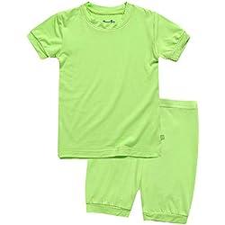 Boys Short Sleeve Sleepwear Pajamas 2pcs Set Short Colorful Neongreen S