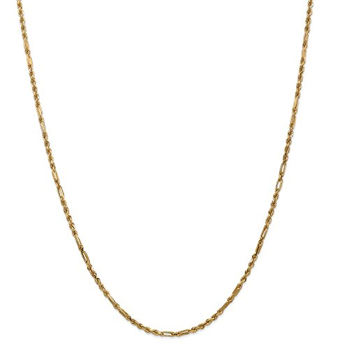 Real 14kt Yellow Gold 2.5mm Milano Rope Chain; 18 inch