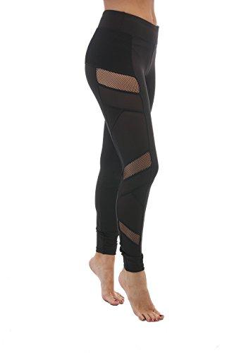 Hollywood Star Fashion Fish Net Mesh Side Active Wear Leggings (Small, - Shops Hollywood Blvd